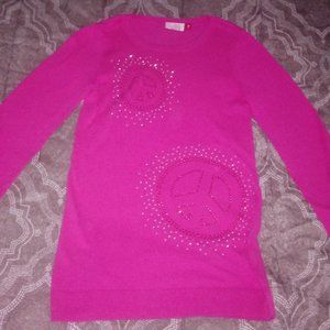 SO girls X-Large 16 pink peace-sign sweater tunic